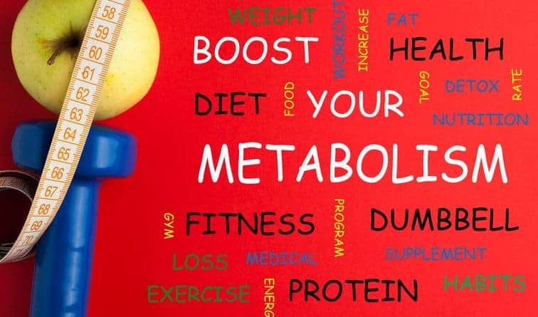 yellow apple, measuring tape, hand weight, Boost Your Metabolism