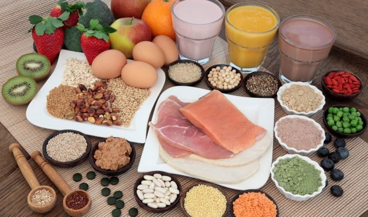 table with fresh protein foods and drinks